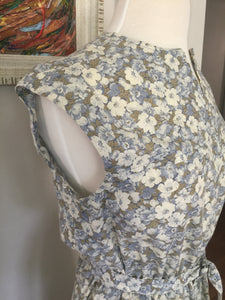 Vintage 1970s Blue & White Floral Handmade Summer Dress With Cap Sleeves