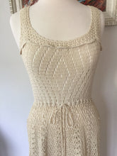 Load image into Gallery viewer, Vintage Bohemian 70s Cotton Knit Crochet Like Sleeveless Dress With Linen Lined Skirt In Natural Ivory