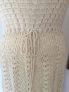 Vintage Bohemian 70s Cotton Knit Crochet Like Sleeveless Dress With Linen Lined Skirt In Natural Ivory