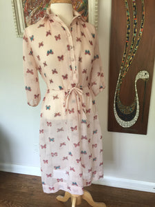 Vintage 1970's Sheer Pink Butterfly Print Dress By Brook Hollow