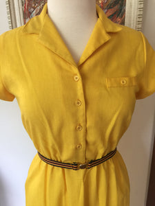 Vintage 1970s Sunshine Yellow Summer Dress With Capped Sleeves By Act I New York
