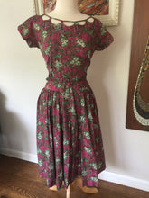 Load image into Gallery viewer, Vintage Mid Century Floral Pink And Purple Hand Made Garden Party Dress