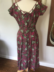 Vintage Mid Century Floral Pink And Purple Hand Made Garden Party Dress