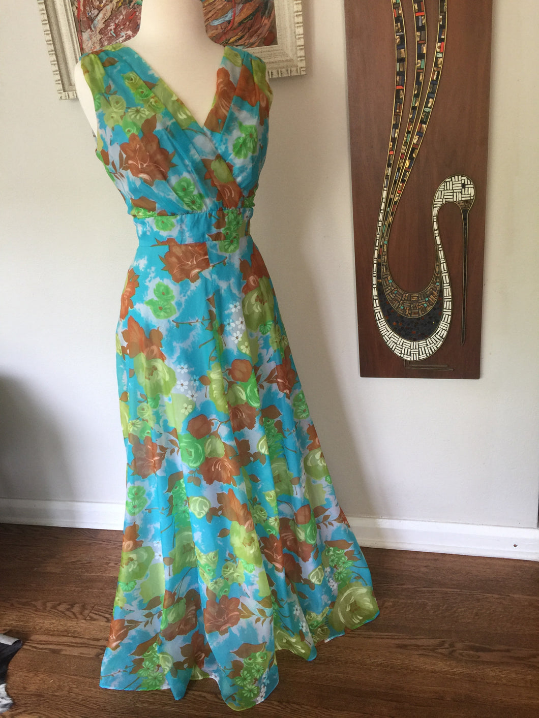 Vintage 1970s New Old Stock Sleeveless Floral Maxi Dress With Large Blue And Green Floral