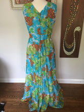 Load image into Gallery viewer, Vintage 1970s New Old Stock Sleeveless Floral Maxi Dress With Large Blue And Green Floral