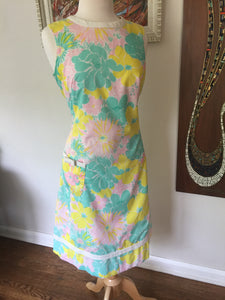"Vintage Original Lilly Pulitzer ""The Lilly"" Summer Pop Floral Shift Dress 1960s-70s"