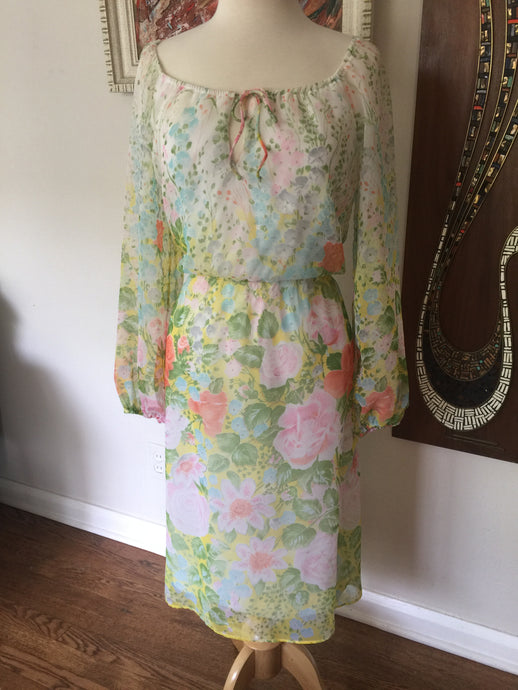 Vintage 1970s Sheer Spring Floral Leslie Fay Dress
