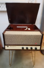 Load image into Gallery viewer, Vintage Tube Amplified Record Player With AM Radio By Airline With Hair Pin Legs Refurbished 1950s