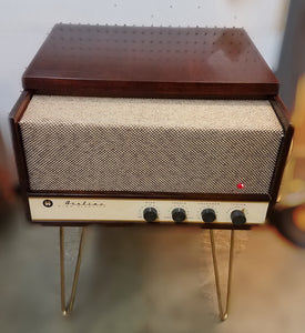 Vintage Tube Amplified Record Player With AM Radio By Airline With Hair Pin Legs Refurbished 1950s