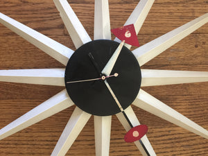 Vintage Mid Century Modern Starburst Clock by Howard Miller In Manner Of George Nelson