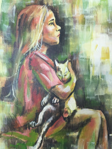 Vintage 1970s-80s Original Painting Of Girl With Cat Framed And Signed