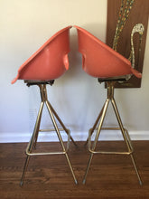 Load image into Gallery viewer, Vintage Mid Century Modern Fiberglass Swivel Shell Bar Stools In Coral 1950s 1960s