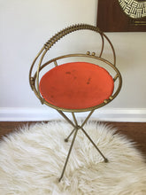Load image into Gallery viewer, Vintage Mid Century Modern Ashtray Plant Stand With Orange Aluminum Tray Atomic Design