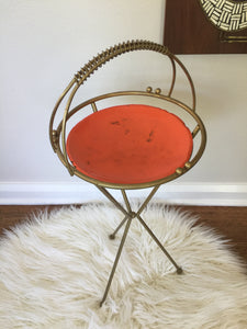Vintage Mid Century Modern Ashtray Plant Stand With Orange Aluminum Tray Atomic Design