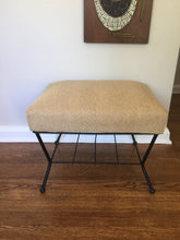 Load image into Gallery viewer, Vintage Mid Century Modern Ottoman Foot Stool With Black Metal Base And Linen Color Upholstery
