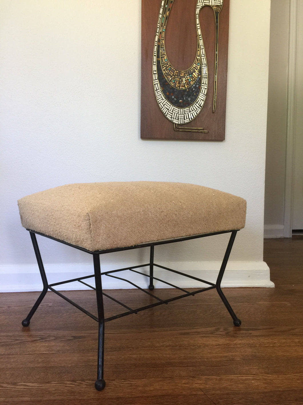 Vintage Mid Century Modern Ottoman Foot Stool With Black Metal Base And Linen Color Upholstery