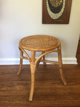 Load image into Gallery viewer, Vintage Boho Wicker & Rattan Stool Plant Stand 1970s 1980s