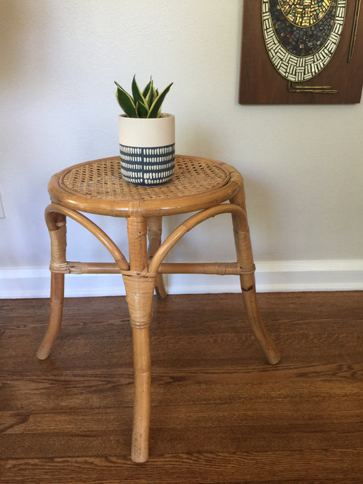 Vintage Boho Wicker & Rattan Stool Plant Stand 1970s 1980s