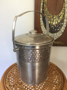 Vintage Hammered Aluminum Large Ice Bucket From Italy With Lid And Handle 1950s