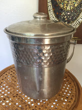 Load image into Gallery viewer, Vintage Hammered Aluminum Large Ice Bucket From Italy With Lid And Handle 1950s
