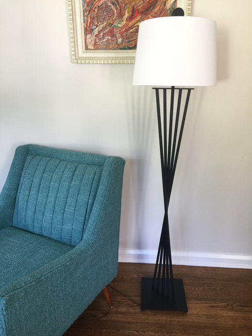 Vintage Mid Century Modern Black Iron Floor lamp With New Linen Shade