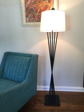 Load image into Gallery viewer, Vintage Mid Century Modern Black Iron Floor lamp With New Linen Shade