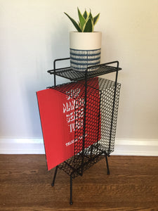 Vintage Mid century Modern Magazine Record Plant Stand In Black Metal c 1950s-60s