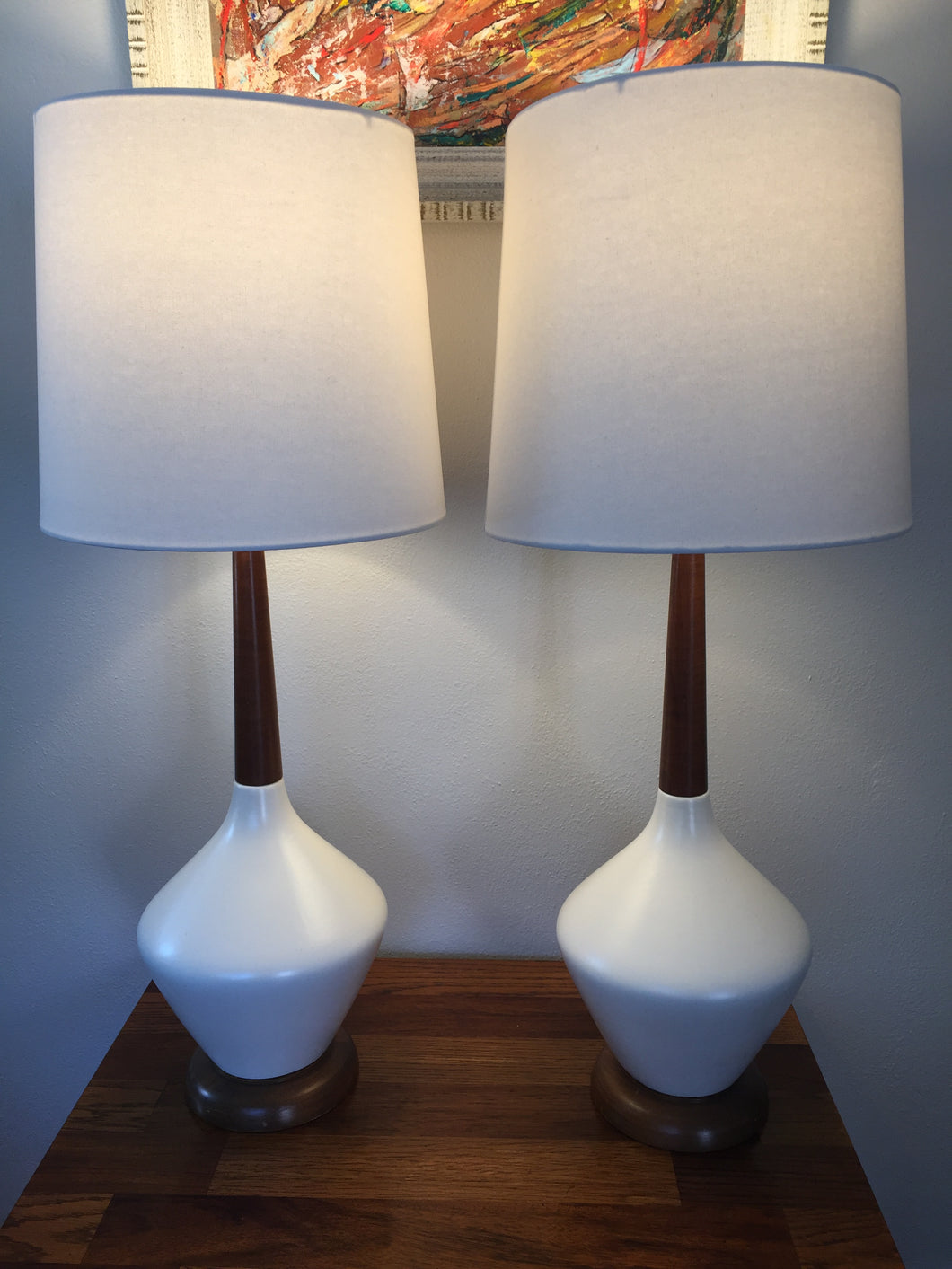 Vintage Mid Century Modern Ceramic & Walnut Lamps In White With New Linen Shades