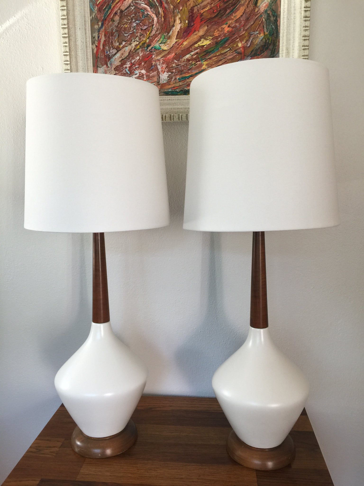 Vintage Mid Century Modern Ceramic Walnut Lamps In White