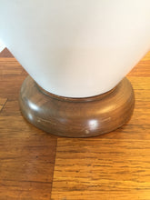 Load image into Gallery viewer, Vintage Mid Century Modern Ceramic & Walnut Lamps In White With New Linen Shades
