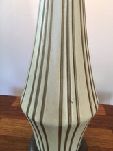 Load image into Gallery viewer, Vintage Mid Century Modern Tall Statement Lamp Striped Design Ceramic Base c 1960s
