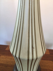 Vintage Mid Century Modern Tall Statement Lamp Striped Design Ceramic Base c 1960s