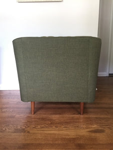 Vintage Mid Century Modern Lounge Arm Chair Upholstered In Moss Green 1962