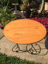 "Load image into Gallery viewer, Vintage MidCentury Black Iron 36"" Round Cafe Table With New Wood Block Top"