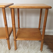 Load image into Gallery viewer, Vintage Heywood Wakefield Solid Birch Side Tables Pair