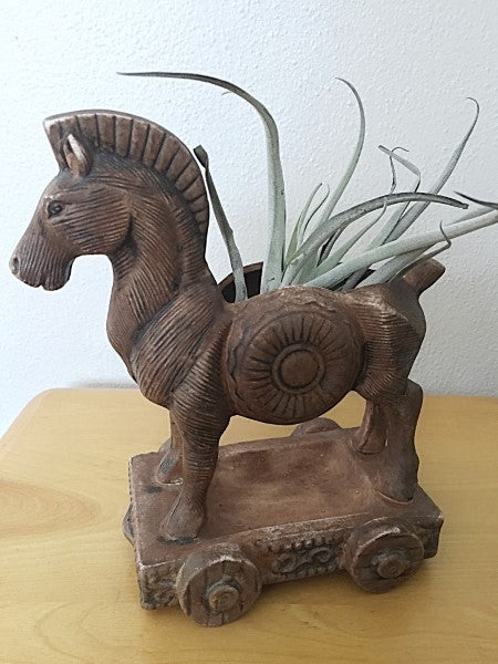 Vintage Ceramic Trojan Horse Planter By Hickok