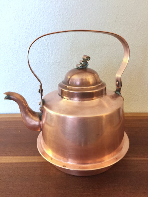 Vintage Swedish Copper 2L Kettle By Wassbergs From Boras Sweden