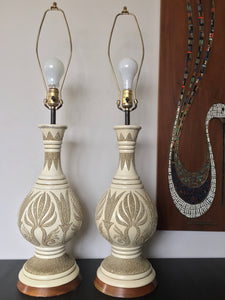 Vintage Mid Century Modern Bohemian Pair Of Ceramic White Lamps By Quartite Creative Corp 1960