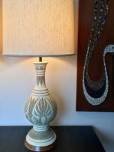 Load image into Gallery viewer, Vintage Mid Century Modern Bohemian Pair Of Ceramic White Lamps By Quartite Creative Corp 1960