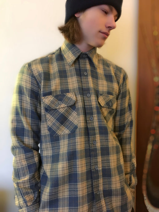 Vintage Flannel Plaid Camp Shirt In Gray And Yellow By Grizzly