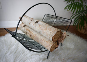 Vintage Mid Century Modern Metal Magazine Log Holder