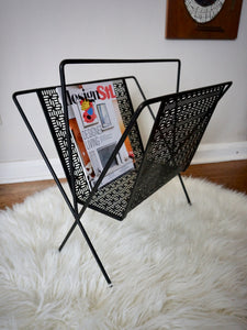 Vintage Mid Century Modern Metal Record And Magazine Holder In Black