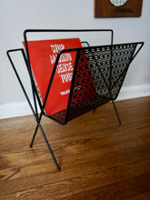 Load image into Gallery viewer, Vintage Mid Century Modern Metal Record And Magazine Holder In Black