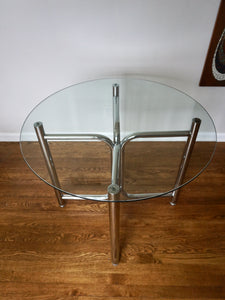 "Vintage Mid Century Modern Chrome & Glass 36"" Round Dining Table By Daystrom 1970s"
