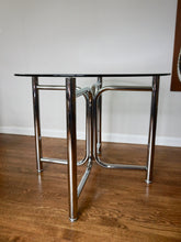 "Load image into Gallery viewer, Vintage Mid Century Modern Chrome & Glass 36"" Round Dining Table By Daystrom 1970s"