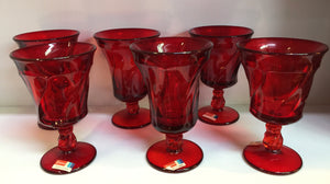 Vintage Mid Century Fostoria Glass Jamestown Goblets In Ruby Red Set