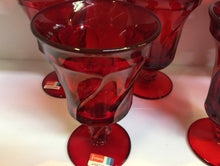 Load image into Gallery viewer, Vintage Mid Century Fostoria Glass Jamestown Goblets In Ruby Red Set