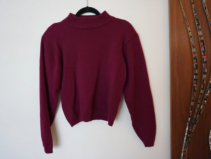 Vintage Merino Wool 80s Sweater In Maroon Burgundy With Shoulder Pads