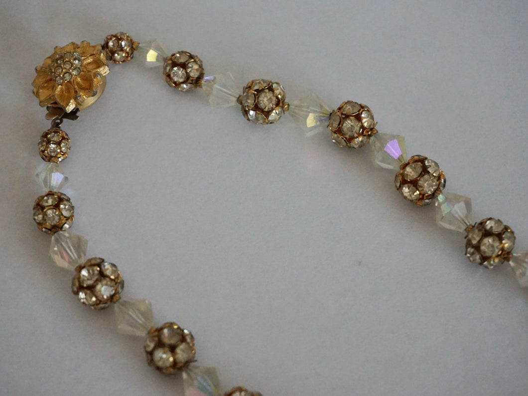Vintage Mid Century Rhinestone & Iridescent Bead Necklace With Gold Tone