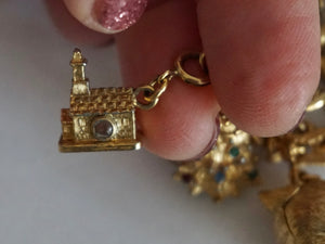 Vintage Monet Charm Bracelet In Gold Tone With Multiple Removable Charms 1970s